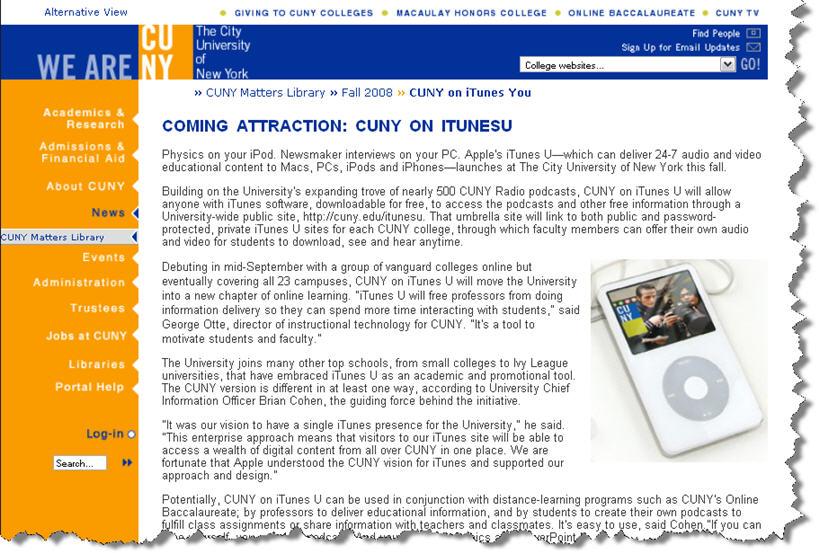 Image:Cuny matters itunes u launch1.jpg